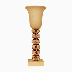 Lampe Art Déco Vintage en Cristal et Albâtre