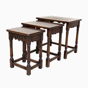 Juego de tres mesas nido vintage de roble