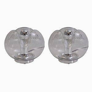Lámparas de mesa alemanas de vidrio y cromo de Peill & Putzler, años 70. Juego de 2