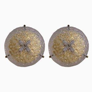 Deutsche Deckenlampen aus Messing & Glas von Hillebrand Lighting, 1970er
