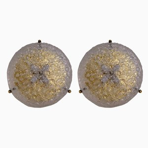 German Brass & Glass Flush Mounts from Hillebrand Lighting, 1970s