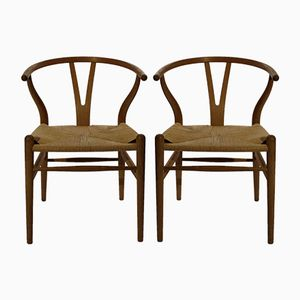 CH24 Wishbone Chairs by Hans J. Wegner for Carl Hansen & Son, 1980s, Set of 2