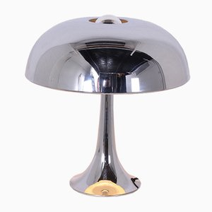 Vintage Chrome Mushroom Table Lamp by Louis Kalff for Philips