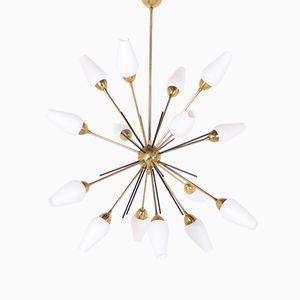 Vintage Brass & Opaline Glass Sputnik Chandelier