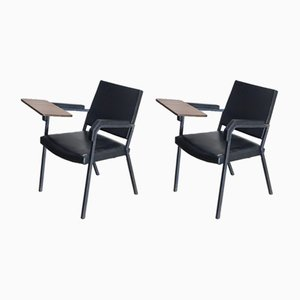 Sedie vintage con tavolini ribaltabili, set di 2