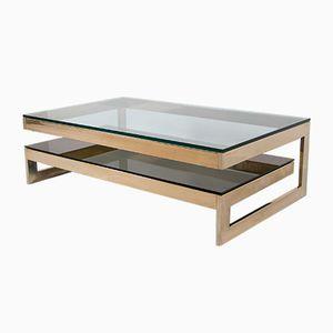 Table Basse en Forme de G en Plaqué Or 23 Carats de Belgo Chrom, 1980s
