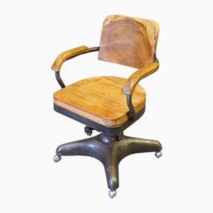 Vintage Industrial Oak & Metal Swivel Chair