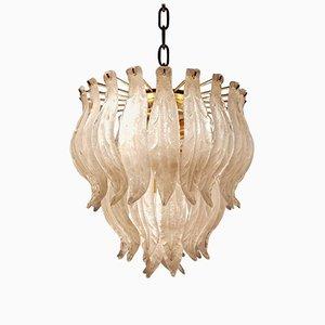 Lámpara de araña con hojas de cristal de Murano, años 70