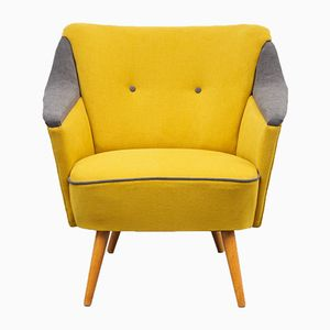 Yellow and Grey Cocktail Lounge Chair, 1950s