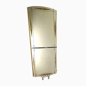 Italienischer Vintage Spiegel mit Konsole & Holzgestell, 1950er