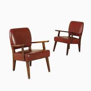 Italienische Vintage Sessel mit Gestell aus gebeiztem Holz & Bezug aus Leder, 1960er, 2er Set