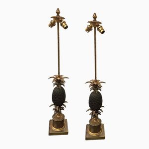 Bronze Pineapple Lamps from Maison Charles, 1970s, Set of 2