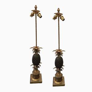 Paire de Lampes Ananas en Bronze de René Charles House, 1970s