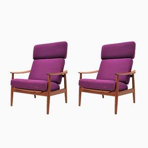 FD164 Teak Lounge Chairs by Arne Vodder for France & Daverkosen, 1960s, Set of 2