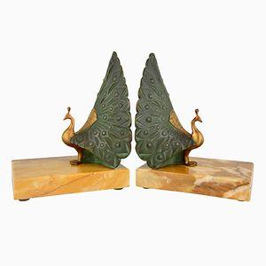 Art Deco Buchstützen aus Bronze in Pfauen-Optik von J.P. Morante, 1925, 2er Set