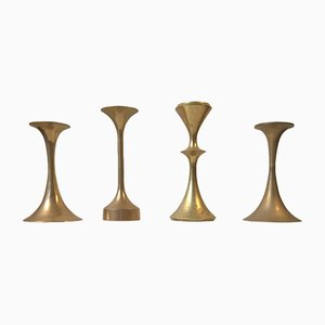 Vintage Scandinavian Brass Candleholders, Set of 4