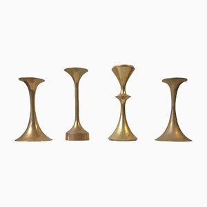 Vintage Scandinavian Brass Candleholders, Set of 4