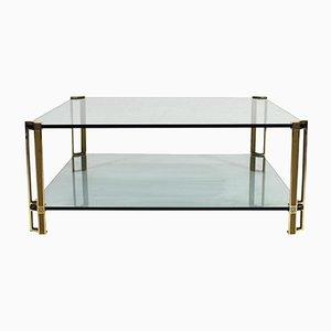 Mesa de centro holandesa vintage de latón y vidrio de Peter Ghyczy para Ghyczy