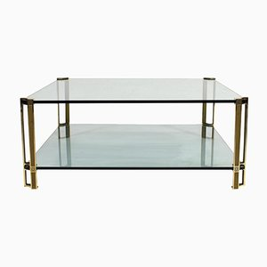 Vintage Dutch Brass & Glass Coffee Table by Peter Ghyczy for Ghyczy