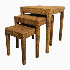 French Wicker Nesting Tables, Set of 3