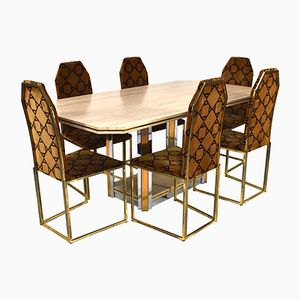 Vintage Travertine Dining Table with 6 Chairs Set