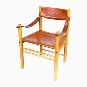 Stuhl mit kamelbraunem Ledersitz von Ibisco, 1970er