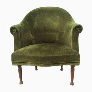 Mid-Century Green Velvet Toad Armchair