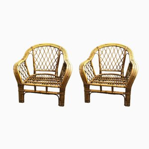 Vintage Armlehnstühle aus Rattan, 2er Set