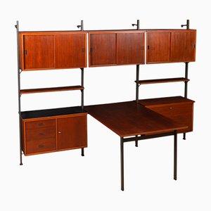 Unidad de pared sueca con escritorio, años 60