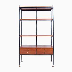 Italienisches Bücherregal aus Eisen & Holz mit Schubladen, 1950er