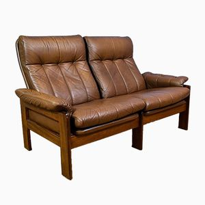 Mid-Century Norwegian Brown Leather 2 Seater Sofa from Ekornes