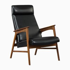 Mid-Century Danish Black Leather Easy Chair