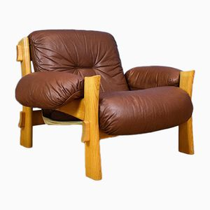 Swedish Oak & Brown Leather Lounge Chair, 1970s