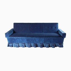Italian Blue Velvet 3-Seater Sofa, 1950s