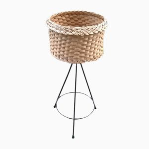 Vintage Metal and Wicker Tripod Planter