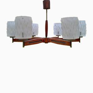 Lámpara de araña escandinava Mid-Century de teca
