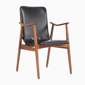 Dutch Black Leather Chair by Louis van Teeffelen for WeBe, 1960s