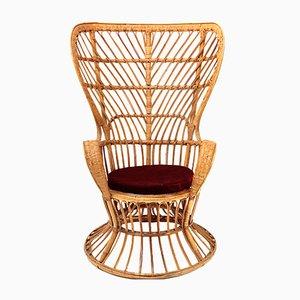 Italienischer Armlehnstuhl aus Rattan von Lio Carminati für Casa e Giardino, 1950er
