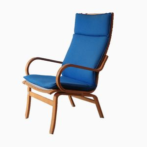 Mid-Century Danish Lounge Chair with Electric Blue Upholstery