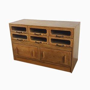Mueble de mercería vintage de roble con ocho cajones