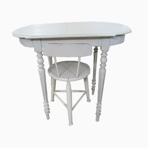 Juego de mesa de escritura y silla de roble, años 30