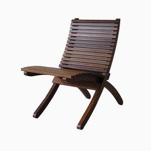 Silla plegable italiana de madera maciza de Paolo Tilche, años 60