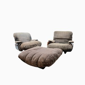 Marsala Armchairs & Footrest by Michel Ducaroy for Ligne Roset, 1970s
