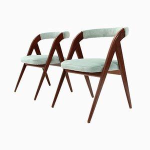 Italian Azure Velvet Chairs, 1950s, Set of 2