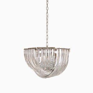 Lampadario vintage in vetro di Murano curvato di Carlo Nason per Crystal Triedri