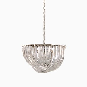 Vintage Curved Murano Chandelier by Carlo Nason for Crystal Triedri