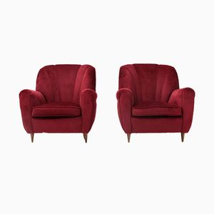 Italian Red Velvet Armchair, 1940s, Set of 2