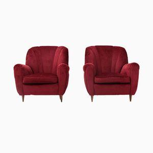 Roter Italienischer Stuhl aus Samt, 1940er, 2er Set