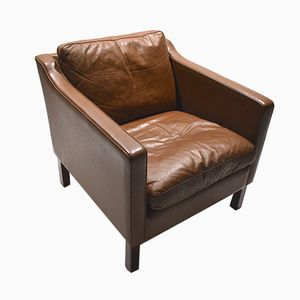 Mid-Century Danish Brown Leather Club Chair, 1960s