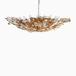 Large Brass and Crystal Flush Mount Chandelier, 1988